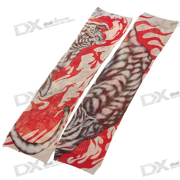 Buy Colorful Tattoo Style Sleeves Arm Stockings - Tiger with Litecoins with Free Shipping on Gipsybee.com