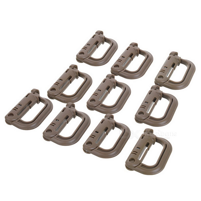 Portable D-Ring Locking Carabiners - Brown (10PCS)Form  ColorBrownModelLX-0107Quantity10 DX.PCM.Model.AttributeModel.UnitMaterialPVCBest UseMountaineering,Travel,CyclingCarabiner typeLocking carabinerWeight Limit90 DX.PCM.Model.AttributeModel.UnitTypeBackpack Accessories,CarabinersPacking List10 x D-Ring locking carabiners<br>