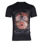 XINGLONG 3D Printing Orangutan Short-Sleeved T-shirt - Black (XXL)