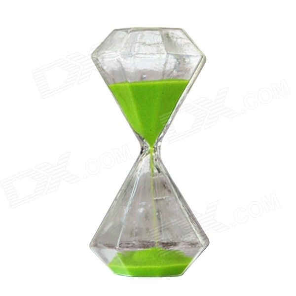 SL-003 15-Minute Hourglass / Sand Glass Timer - Green + Transparent