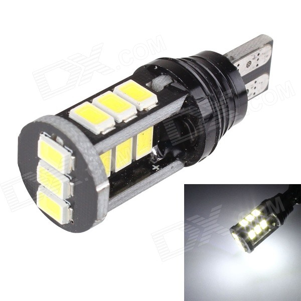 MZ T15 7.5W CANBUS 6000K 600lm SMD 5630 White Car Lamp (12~24V)Tail Lights<br>Color BINWhiteModelT15-5630-15smdQuantity1 DX.PCM.Model.AttributeModel.UnitMaterialPCBForm  ColorBlack + YellowEmitter TypeLEDChip BrandOthers,5630 SMDChip Type5630 SMDTotal EmittersOthers,15PowerOthers,7.5WColor Temperature6000 DX.PCM.Model.AttributeModel.UnitTheoretical Lumens650 DX.PCM.Model.AttributeModel.UnitActual Lumens600 DX.PCM.Model.AttributeModel.UnitRate Voltage12~24VWaterproof FunctionNoConnector TypeOthers,T15Other FeaturesConstant currentApplicationBackup lightPacking List1 x LED light<br>