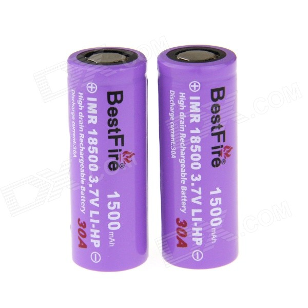 BestFire Rechargeable 3.7V 1200mAh IMR 18500 Battery - Purple (2 PCS)
