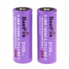 BestFire Rechargeable 3.7V 1600mAh ef IMR Lithium-Ion Button Battery - Purple (2 PCS)