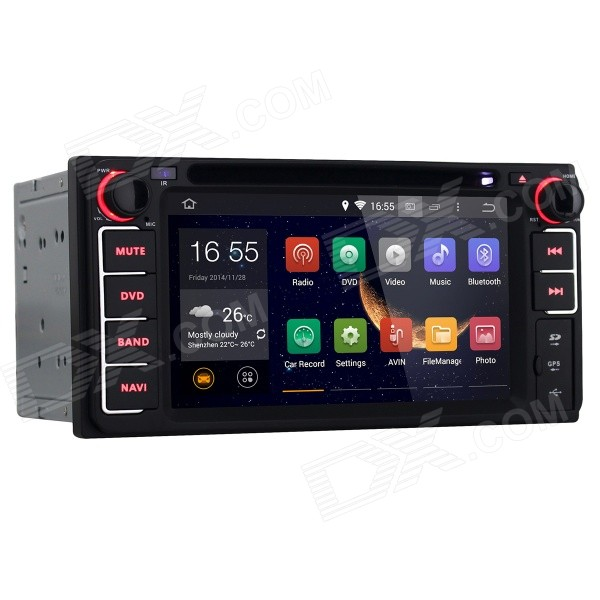 Joyous 2-Din Android 4.4 DVD Player w/ GPS, Wi-Fi for Toyota - Black