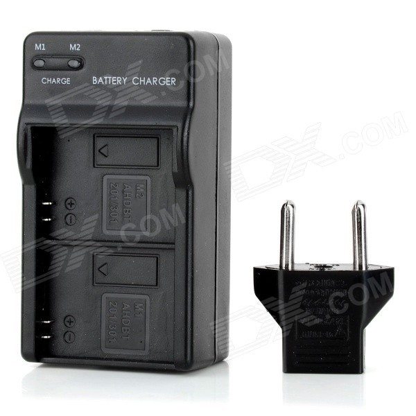US Plug Battery Charger + EU Plug Adapter for GoPro Hero 3+ - Black