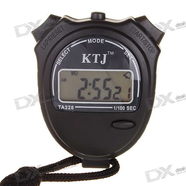 Sport Stop Watch with Time/Alarm/Date/Calendar (1*AG13) - Black