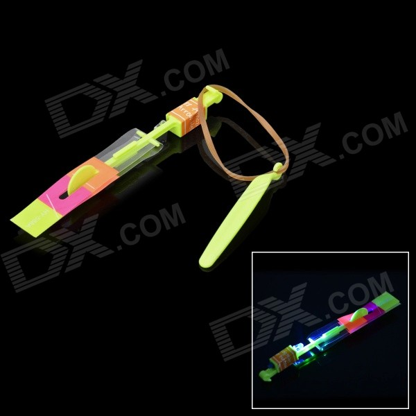 Buy LED Flying Rotation Rubberband Slingshot Helicopter Toy - Yellow with Litecoins with Free Shipping on Gipsybee.com