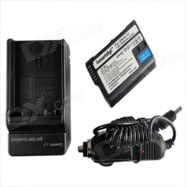 Ismartdigi EL15 1900mAh Battery + Car Charger for Nikon D7000, D7100