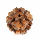 Square Wooden Luban Lock Unlock Puzzle Toys for Children - Brown