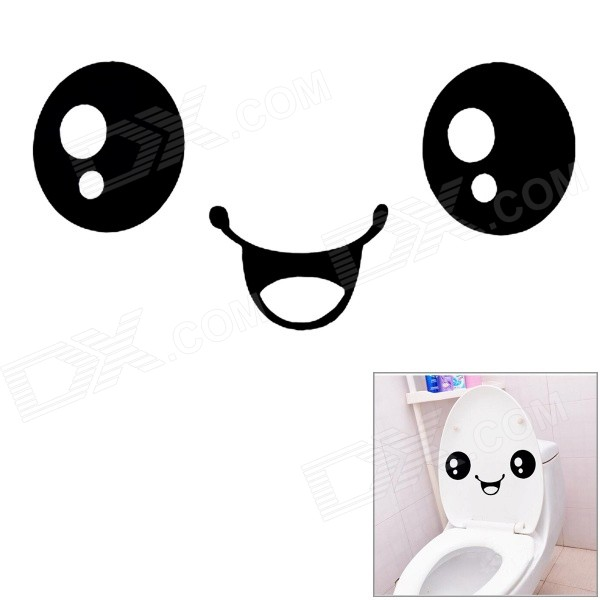 Buy Smiley Face Pattern Toilet Lid / Glass / Wall Decal Sticker - Black with Litecoins with Free Shipping on Gipsybee.com
