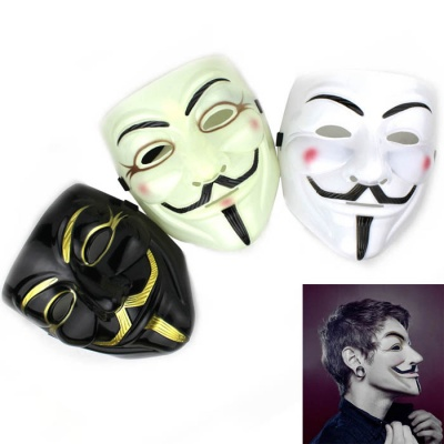 Creative Vendetta Style Plastic Masks - White + Black (3PCS)