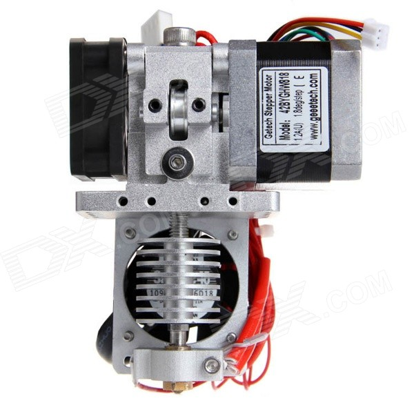 Geeetech GT9S 1.75mm Filament 0.35mm Nozzle 3D Printer Extruder3D Printer Parts<br>Form  ColorSilver+ blackModelGT9SQuantity1 DX.PCM.Model.AttributeModel.UnitMaterialAluminum alloyEnglish Manual / SpecNoOther FeaturesMaterial: Aluminium alloy<br>Suitable raw material: PLA and ABS <br>Printing resolution: 0.1mm<br>Molding form: FDM<br>Printing thickness: 0.1mm-0.3mm<br>Nozzle temperature: 180-260 <br>Movement speed: 50cc<br>Outline dimensions: 85*53*119 mm (L/W/H)      <br>Weight: 525g     <br>Input voltage: default to 12V<br>Flow rate in nozzle: about 24cc/h<br>Nozzle diameter:0.35mm <br>Printing material: 1.75mm ABS or PLA<br>Cooling fan: operating voltage defaulted to 12V<br>Heating voltage of extruding head: 12V<br>Thermistor: 100K 1% high-precision NTC ThermistorPacking List1 x GT9S 3D Printer Extruder (70cm)<br>
