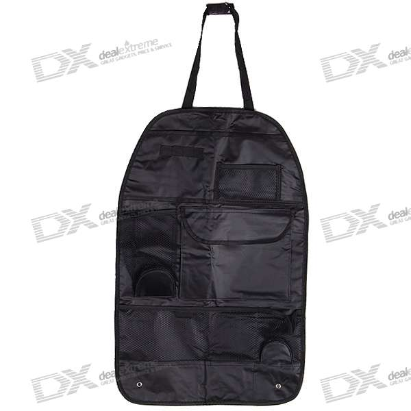 Universal Car Seat Backside Multi Pockets Storage Bag (Black)