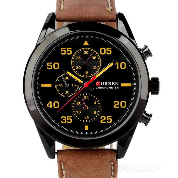 CURREN 8156 Mens Fashion Quartz Watch - Black + Brown (1*626)Leather Strap Watches<br>Form ColorBlack + BrownModel8156Quantity1 DX.PCM.Model.AttributeModel.UnitShade Of ColorBlackWristband MaterialPU LeatherCasing MaterialAlloyGenderMenSuitable forAdultsStyleWrist WatchTypeFashion watchesDisplayAnalogBacklightN/AMovementQuartzDisplay Format12 hour formatWater ResistantWater Resistant 3 ATM or 30 m. Suitable for everyday use. Splash/rain resistant. Not suitable for showering, bathing, swimming, snorkelling, water related work and fishing.Dial Diameter4 DX.PCM.Model.AttributeModel.UnitDial Thickness1.2 DX.PCM.Model.AttributeModel.UnitBand Width2.2 DX.PCM.Model.AttributeModel.UnitWristband Length25.5 DX.PCM.Model.AttributeModel.UnitBatteryBuilt-in 1 x 626 button cellOther FeaturesSubdials can not work, just for decorationPacking List1 x Watch<br>