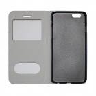 MSC-I6-2 PU Flip Open Case w/ View Window / Stand for IPHONE 6 - Black
