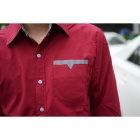 9022 Men's Skinny Long-sleeved Cotton Shirt - Wine Red (Size L)