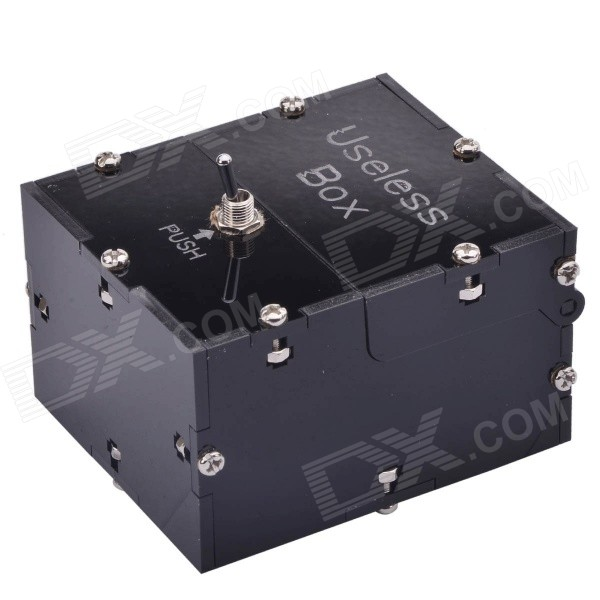 NEJE JS0006-8 Mini Useless Fully Assembled Machine Box Toy - BlackOther Toys<br>Form ColorBlack - MiniModelJS0006-8MaterialABSQuantity1 DX.PCM.Model.AttributeModel.UnitSuitable Age 8-11 years,12-15 years,Grown upsPacking List1 x Box toy (2 x AAA, not included)<br>