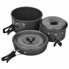 DS-300 Portable Outdoor Camping Cooking Pot Set - Dark Grey