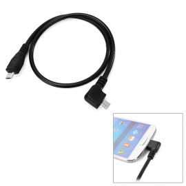 Micro USB M to 90' Angled Micro USB M Charging Cable - Black (40cm)