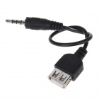 3.5mm Male to USB Audio Extension Cable - Black + Silver (13cm)