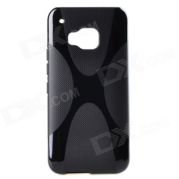 "XBM9 ""X"" Pattern Non-Slip TPU Back Case Cover for HTC ONE M9 - Black"