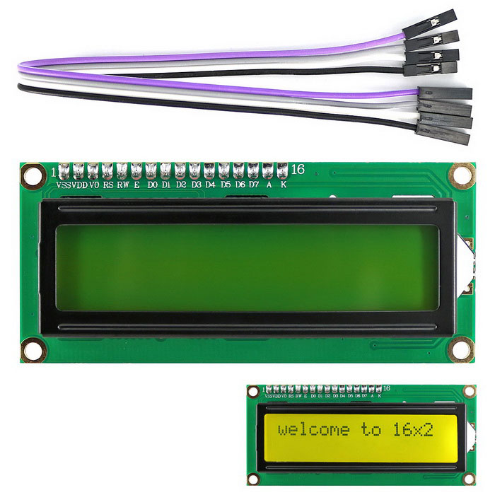 I2C / IIC LCD 1602 Display Module for Arduino, Raspberry Pi, AVR, ARMLCD, LED Display Module<br>Form  ColorYellowish Green + BlackModelI2C 1602 LCD DisplayQuantity1 DX.PCM.Model.AttributeModel.UnitMaterialPCB + plasticScreen TypeOthers,LCDScreen Size2.6 DX.PCM.Model.AttributeModel.UnitResolutionOthers,80 x 16Working Voltage   4.5~5.5 DX.PCM.Model.AttributeModel.UnitWorking Current80 DX.PCM.Model.AttributeModel.UnitEnglish Manual / SpecYesDownload Link   https://drive.google.com/folderview?id=0B6uNNXJ2z4CxYm52MDc2MmxZZmc&amp;usp=sharingPacking List1 x Yellow-green I2C LCD 1602 display module1 x 4-pin cable ( 20cm)<br>