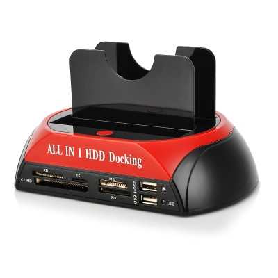 USB2.0 All-in-1 Dual HDD Docking Station w/ One Touch Backup