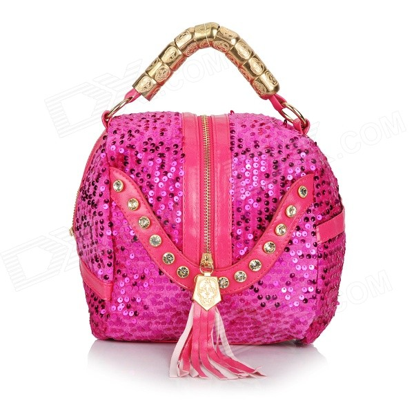 ZEA15-3-5-1-Womens-Sequins-PU-Handbag-Shoulder-Bag-Deep-Pink