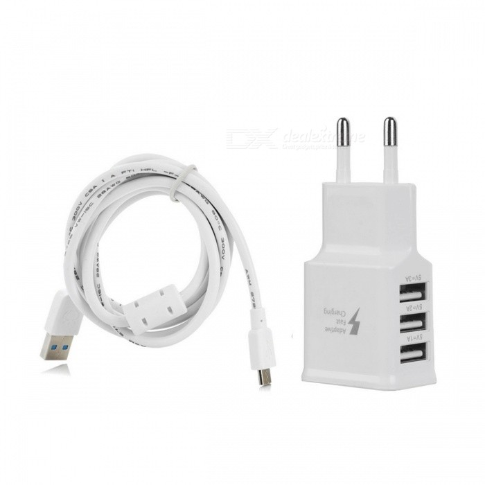 3-Port USB EU Plug Charger + Anti-Interference Micro USB Cable - White