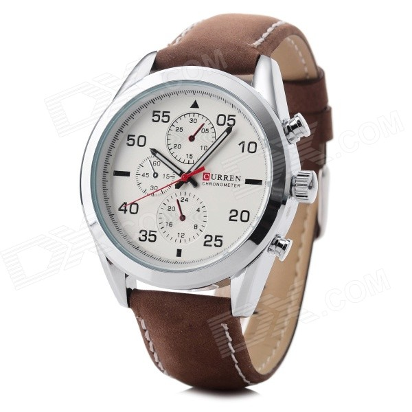 Buy CURREN 8156 Men's PU Leather Quartz Watch - White + Brown with Litecoins with Free Shipping on Gipsybee.com