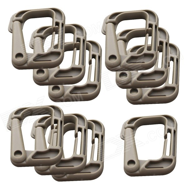 WB-D0313 Sports D-Shaped D-Ring Locking Carabiners - Khaki (10PCS)Form  ColorKhakiModelWB-D0313Quantity10 DX.PCM.Model.AttributeModel.UnitMaterialPVCBest UseMountaineering,Travel,CyclingCarabiner typeLocking carabinerTypeBackpack Accessories,CarabinersOther Features- Attatches securely to any 1 molle webbing for adding lanyards or other accessoriesPacking List10 x Buckles<br>