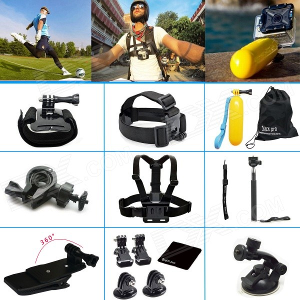 Black Pro 15-in-1 Sports Basic Kit for GoPro Hero 3 / 3+ / 4 - Black