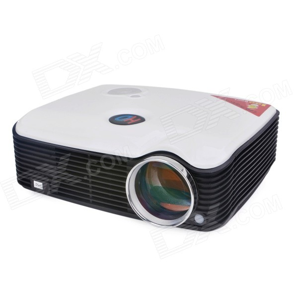 PH5 2500lm 1080P Full HD Home Theater LED Projector - White (EU Plug)Projectors<br>Form  ColorWhite + Black + Multi-ColoredModelPH5Quantity1 DX.PCM.Model.AttributeModel.UnitMaterialABSShade Of ColorWhiteOperating SystemNoTypeLCDBrightness2500 DX.PCM.Model.AttributeModel.UnitMenu LanguageEnglish,French,German,Italian,Spanish,Portuguese,Russian,Vietnamese,Polish,Greek,Danish,Norwegian,Dutch,Arabic,Turkish,Thai,Hungarian,Czech,Romanian,Chinese SimplifiedBuilt-in SpeakersYesLife Span30000 DX.PCM.Model.AttributeModel.UnitEmitter BINLEDDisplay Size30inch~150inchAspect RatioOthers,4:3 / 16:9Contrast Ratio2000:1PixelsSVGA (800 x 600)Native ResolutionSVGA (800x600)Maximum ResolutionWXGA (1280 x 800)Throw Distance2~5mBuilt-in Memory / RAMNoStorageNoAudio FormatsOthers,OGG, ACC/ACC+, CD, WAV, WMA, MP3Video FormatsOthersPicture FormatsOthersInput ConnectorsAV, VGA, USB x 2, AUDIO IN, YPbPrOutput ConnectorsAudio OUT, S-VideoInput Video CompatibilityAnalog RGBInput Audio Signalsmp3, wma, m4a, aacOther InterfaceHDMI x 2Power Consumption120WPower Supply100~240VPower AdapterEU PlugBrandOthers,-Brightness2000~2999 lumensMaximum Resolution1080PInput ConnectorsAV,VGA,USB,HDMIPower Consumption80W &amp; OverPacking List1 x Projector1 x Power cord (EU plug / 150cm-cable)1 x VGA cable (150cm)1 x Remote control (2 x AAA, not included)1 x AV cable (150cm)1 x English user manual<br>