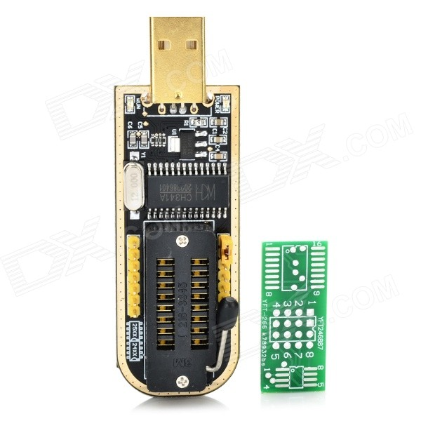 CH341A USB Programmer w/ LED Indicator - Black + Golden + Multi-Color