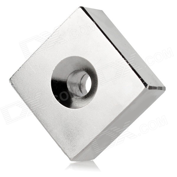 NdFeB-N52-Square-Magnet-w-Hole-Silver-(40*40*20mm)