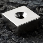 NdFeB N52 Square Magnet w/ Hole - Silver (40*40*20mm)