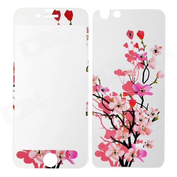 Flowers Pattern Matte Front + Back Glass Film for IPHONE 6 - Purple