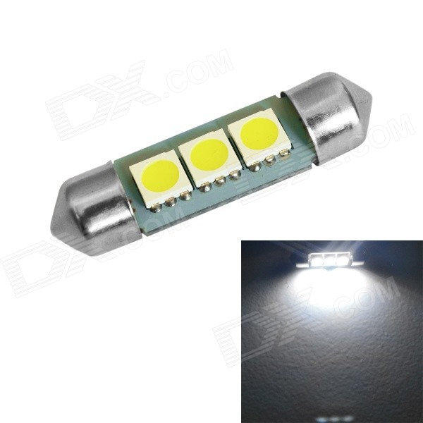 JIAWEN Festoon 36mm 1W 60lm 3-SMD 60lm 6500K White LED Bulb Car Lamp