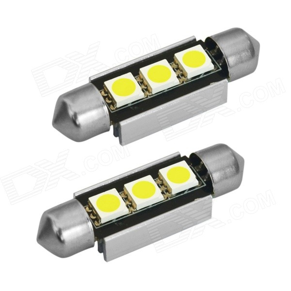 JIAWEN Festoon 39mm 0.6W 6500K 70lm White 3-5050 SMD Bulb (12V, 2PCS)