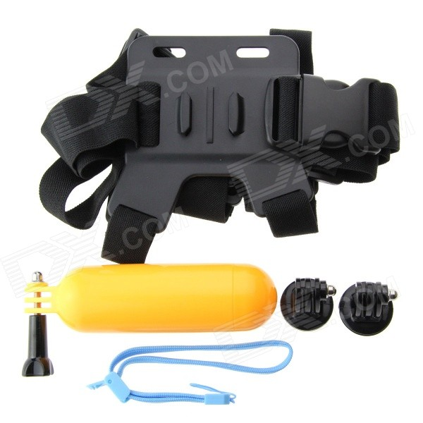 Chest Band, 2 Easy-plug Mounts, Flat Base Float Stick for GoPro HeroMounting Accessories<br>Form ColorBlackModelN/AQuantity1 DX.PCM.Model.AttributeModel.UnitMaterialNylon + PVShade Of ColorBlackCompatible ModelsGoPro Hero 1,GoPro Hero 2,GoPro Hero 3,GoPro Hero 3+RetractableYesMax.Load8 DX.PCM.Model.AttributeModel.UnitPacking List1 x Chest Band1 x Flat Base Float Stick1 x Fixed Rope (14cm)1 x Long Screw2 x Mount Bases<br>