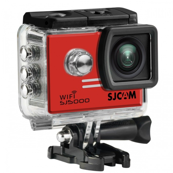 SJCAM SJ5000 Wi-Fi 2.0 TFT 14MP 1080P Action Camera - Red + BlackSport Cameras<br>Form  ColorBlack + Red + Multi-ColoredModelSJ5000Shade Of ColorRedMaterialABS plasticsQuantity1 setImage SensorCMOSImage Sensor SizeOthers,1/2.33Anti-ShakeYesFocal DistanceF= 2.8 mmFocusing RangeF= 2.8Optical ZoomNoDigital Zoom4XBuilt-in SpeedliteNoSpeedlite RangeNoApertureNoAperture RangeNoWide Angle170-degree A + high-definition wide-angle lensEffective Pixels14MPMax. Pixels14MP 4254x3264 pixelsImagesJPEGStill Image Resolution14M4254x3264<br>12M4000x3000<br>8M3264x2448<br>5M2560x1920<br>3M2048x1536         <br>2M Wide1920x1080VideoMOV,MP4Video ResolutionFull HD: 1920*1080P 30 fps<br>720P: 1280*720P 60/30 fps (double frame, not true 60fps)<br>480P: 640*480P 60/fpsVideo Frame Rate30,60Audio SystemStereoCycle RecordYesISOOthers,Auto, 100, 200, 400, 800, 1400Exposure Compensation-2;-1.7;-1.3;-1;-0.7;-0.3;0;+0.3;+0.7;+1;+1.3;+1.7;+2.0Scene ModeAutoWhite Balance ModeOthers,AutoSupports Card TypeTFSupports Max. Capacity32 GBBuilt-in Memory / RAMNoInput InterfaceMicOutput InterfaceMicro USB,Mini HDMILCD ScreenYesScreen TypeTFTScreen Size2.0 inchScreen Resolution960*240Battery Measured Capacity 900 mAhNominal Capacity900 mAhBattery TypeLi-ion batteryBattery included or notYesBattery Quantity1 pieceVoltage3.7 VBattery Charging Time3~4Low Battery AlertsYesWater ResistantWater Resistant 3 ATM or 30 m. Suitable for everyday use. Splash/rain resistant. Not suitable for showering, bathing, swimming, snorkelling, water related work and fishing.Supported LanguagesEnglish,Simplified Chinese,Traditional Chinese,Russian,Italian,French,GermanCertificationCE FCCPacking List1 x SJ5000 Plus Sports Camera1 x Waterproof Housing1 x Quick Release Buckle1 x Housing Backdoor with Holes1 x Handlebar Seatpost Pole Mount1 x Curved Adhesive Mount1 x Flat Adhesive Mount1 x 3-Way Pivot Arm Mount1 x Frame Mount1 x Quick Release Clip for The Frame1 x Vertical Quick Release J-Hook Buckle1 x Universal 1/4 Camera Tripod Mou