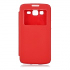 Flip-Open PU + TPU Case w/ View Window for Samsung G7108v + More - Red