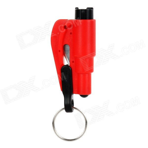 Buy 3-in-1 Emergency Car Safety Hammer + Belt Cutter + Keyring - Red with Litecoins with Free Shipping on Gipsybee.com