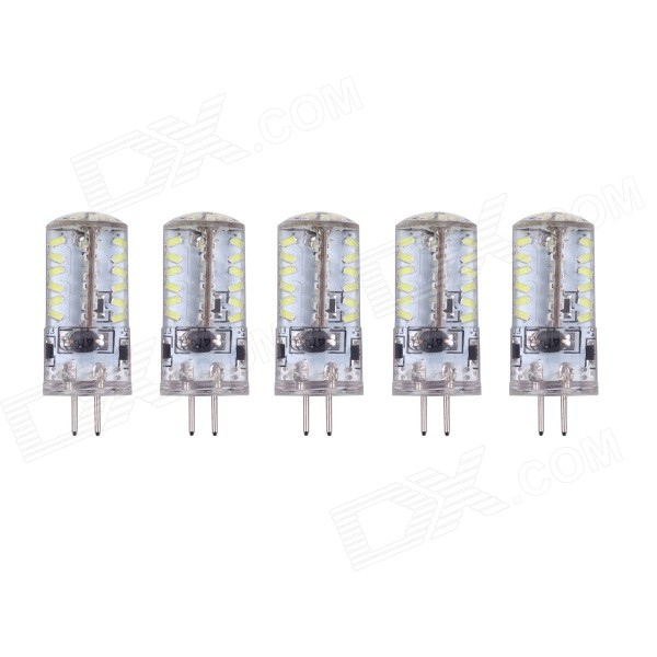 G4 3W 6000K 190lm 57-SMD 3014 White Corn Lamp (DC 12V / 5PCS)G4<br>Form  ColorWhite + Yellow + Multi-ColoredColor BINWhiteMaterialSilicon resinQuantity1 DX.PCM.Model.AttributeModel.UnitPower3WRated VoltageOthers,DC 12 DX.PCM.Model.AttributeModel.UnitConnector TypeG4Emitter TypeOthers,3014Total Emitters57Theoretical Lumens200 DX.PCM.Model.AttributeModel.UnitActual Lumens160~190 DX.PCM.Model.AttributeModel.UnitColor Temperature6000KDimmableNoBeam Angle360 DX.PCM.Model.AttributeModel.UnitPacking List5 x LED lamps<br>