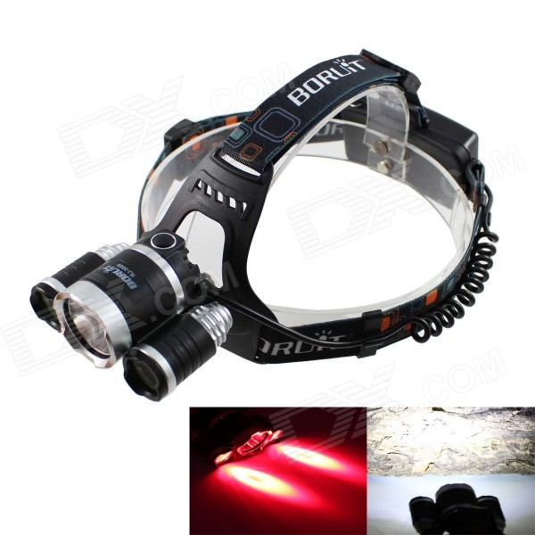 KINFIRE K-G30 T6 R3 3-LED 1650lm 4-Mode White + Red Fishing HeadlampHeadlamps<br>Form  ColorBlack + White + Multi-ColoredModelK-G30Quantity1 DX.PCM.Model.AttributeModel.UnitMaterialAluminum + ABSEmitter BrandOthers,N/ALED TypeOthers,XML, XPEEmitter BINT6,others,R3,R3Color BINOthers,White + redNumber of Emitters3,Others,2 x XPE R3 +  1 x XML T6Working Voltage   3.6~4.2 DX.PCM.Model.AttributeModel.UnitPower Supply2 x 18650 batteries (included)Current2380~2900 DX.PCM.Model.AttributeModel.UnitTheoretical Lumens1900 DX.PCM.Model.AttributeModel.UnitActual Lumens1650 DX.PCM.Model.AttributeModel.UnitRuntime3~6 DX.PCM.Model.AttributeModel.UnitNumber of Modes4Mode ArrangementHi,Mid,Low,Fast StrobeMode MemoryNoSwitch TypeForward clickySwitch LocationHeadLensGlassReflectorAluminum SmoothBand Length40 DX.PCM.Model.AttributeModel.UnitCompatible Circumference40~60cmBeam Range80~230 DX.PCM.Model.AttributeModel.UnitOther FeaturesRed light: 620~760nmPacking List1 x Headlamp 2 x 18650 batteries (2600mAh)1 x AC 100~250V US plug power charger (35cm)<br>
