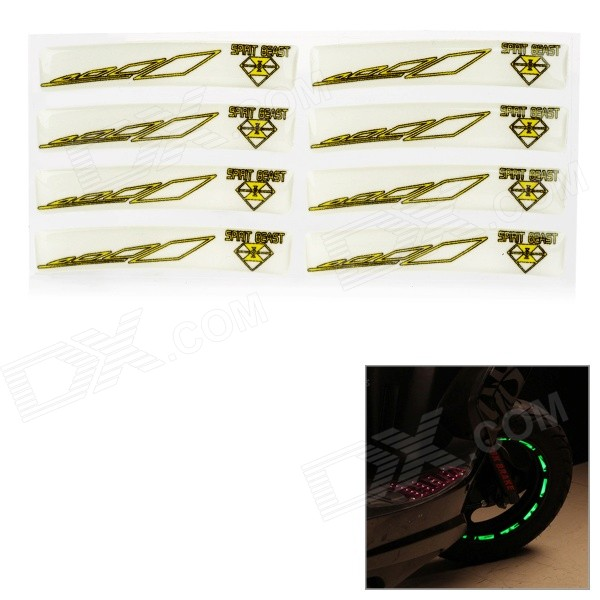 DIY Cool Glow-in-the-Dark Wheel Tire Rim Decoration Stickers - Yellow
