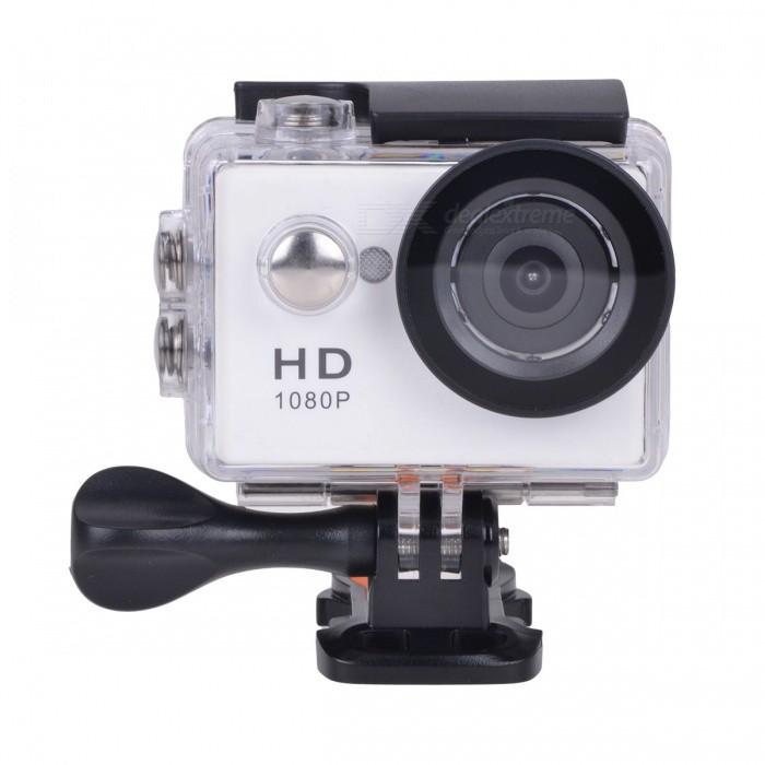 EOSCN HD1080P 2 LCD Waterproof Camera 5.0MP Action Camcorder - WhiteSport Cameras<br>Form  ColorWhiteModelN/AShade Of ColorWhiteMaterialABSQuantity1 DX.PCM.Model.AttributeModel.UnitImage SensorCMOSImage Sensor Size2/3 inchesAnti-ShakeYesFocal DistanceNo DX.PCM.Model.AttributeModel.UnitFocusing RangeNoOptical ZoomNoDigital ZoomOthers,N/ABuilt-in SpeedliteNoSpeedlite RangeNoApertureNoAperture RangeNoWide Angle120°A+ HD wide-angle lensEffective Pixels5.0MPImagesJPEGStill Image Resolution(2592 x 1944) 5M / (2048 x 1536) 3M / (1600 x 1200) 2M / (1280 x 960) 1MVideoAVIVideo Resolution1920x1080p 15fps; 1280x720p 30fpsVideo Frame Rate15,30,60Audio SystemStereoCycle RecordYesISONoExposure Compensation-2;-1.7;-1.3;-1;-0.7;-0.3;0;+0.3;+0.7;+1;+1.3;+1.7;+2.0Scene ModeAutoWhite Balance ModeAutoSupports Card TypeTFSupports Max. Capacity32 DX.PCM.Model.AttributeModel.UnitBuilt-in Memory / RAMNoOutput InterfaceMicro USBLCD ScreenYesScreen TypeOthers,LCDScreen Size2 DX.PCM.Model.AttributeModel.UnitBattery Measured Capacity 900 DX.PCM.Model.AttributeModel.UnitNominal Capacity900 DX.PCM.Model.AttributeModel.UnitBattery TypeLi-ion batteryBattery included or notYesBattery Quantity1 DX.PCM.Model.AttributeModel.UnitVoltage3.7 DX.PCM.Model.AttributeModel.UnitBattery Charging TimeAbout 3 hoursLow Battery AlertsYesWater ResistantWater Resistant 3 ATM or 30 m. Suitable for everyday use. Splash/rain resistant. Not suitable for showering, bathing, swimming, snorkelling, water related work and fishing.Supported LanguagesEnglish,Traditional Chinese,Russian,Portuguese,Spanish,Italian,Korean,French,German,Others,JapaneseCertificationCEPacking List1 x Sports camera1 x Waterproof case1 x Bicycle holder1 x Camera clip1 x Helmet base 1 x Mount A1 x Mount B1 x Mount C2 x Bands (36cm)  2 x Velcro straps (20cm)1 x USB Cable (60cm)1 x Li-ion Battery (3.7V, 900mAh)1 x English user manual<br>