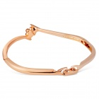 Women's Elegant Plum Blossom Style Alloy Bangle Bracelet - Rose Gold