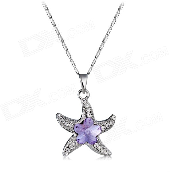 Xinguang Star Shaped Amethyst Crystal Inlaid Pendant Necklace - Silver
