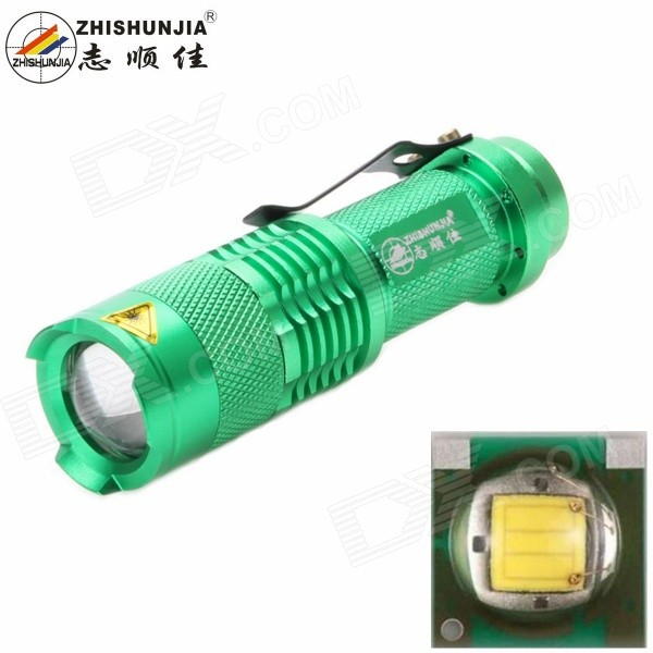 ZHISHUNJIA SK68XPE 1-LED 400lm 1-Mode Cold White Flashlight14500 Flashlights<br>Form  ColorGreenModelSK68XPEQuantity1 DX.PCM.Model.AttributeModel.UnitMaterialAluminum alloyEmitter BrandOthers,N/ALED TypeXP-EEmitter BINQ5Color BINCold WhiteNumber of Emitters1Working Voltage   3.7 DX.PCM.Model.AttributeModel.UnitPower Supply1 x 14500 battery (not included)Current1.8 DX.PCM.Model.AttributeModel.UnitTheoretical Lumens500 DX.PCM.Model.AttributeModel.UnitActual Lumens400 DX.PCM.Model.AttributeModel.UnitRuntime4 DX.PCM.Model.AttributeModel.UnitNumber of Modes1Mode ArrangementHiMode MemoryNoSwitch TypeForward clickySwitch LocationTailcapLensPlasticReflectorNoBeam Range200 DX.PCM.Model.AttributeModel.UnitStrap/ClipClip includedOther FeaturesZoom-to-throwPacking List1 x Flashlight<br>